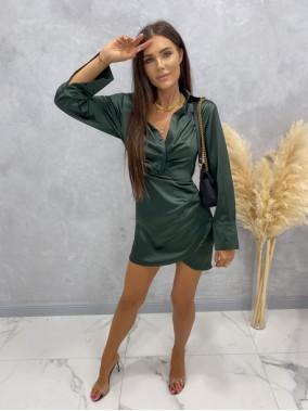 Sukienka satynowa mini ciemno zielona Nita 09