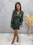 Sukienka satynowa mini ciemno zielona Nita 09 - photo #2