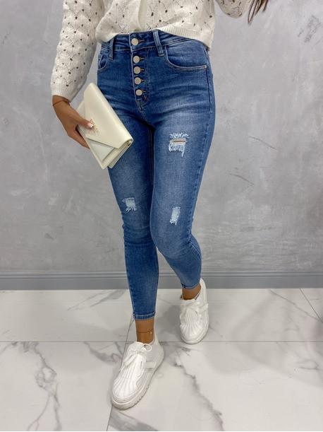 Spodnie jeansowe zapinane na guziki z przetarciami Vilsa 09