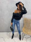 Sweter z łańcuszkiem i falbankami czarny Cika 09 - photo #1